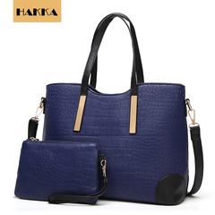 HAKKA 2019 Women Handbag Crocodile Shoulder Bag Crossbody Messenger Bags Clutch With Wallet Dark blue 13inch*5inch*9.5inch