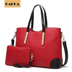 HAKKA 2019 Women Handbag Crocodile Shoulder Bag Crossbody Messenger Bags Clutch With Wallet Red wine 13inch*5inch*9.5inch