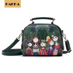 2019 Women Fashion Handbags Leather Shoulder Bags Crossbody Bag Cartoon Pattern Printing Bag Green 8.5inch*5inch*8inch