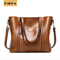 HAKKA Women Handbag Oil Wax Leather Messenger Shoulder Bag Tote Bag Large Capicity Brown 13inch*5inch*12inch