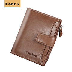 Mens Wallet Brown Genuine Cowhide RFID Blocking Soft Leather Wallet Brown 5inch*4inch*1.2inch