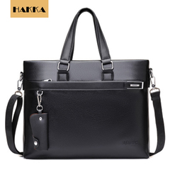Leather Business Briefcase Travel Leather Messenger Bag Cowhide Laptop Bag with Strap Handbag Black 16inch*12inch*2inch