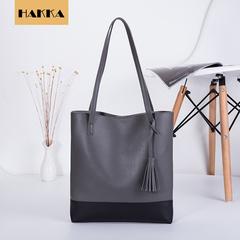 Valentine's Day Promo FBK Women's Leather Tote Large Capacity Tassel Handbag grey one size