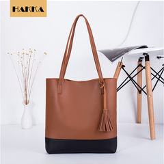 Women Shoulder Bags High Quality Women's Soft Leather Handbag Tassel Bucket Bag Brown 12inch*2inch*12inch