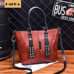 Women Shell Shoulder & Handbag  Soft Synthetic Leather Messenger Crossbody Female Bag Ladies Tote Brown 12inch*5inch*10inch