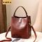 Retro Fashion Bucket Bags Women Crocodile Pattern Handbag Casual  Shoulder Bags Ladies PU Purse Coffee 8inch*5.6inch*8.8inch