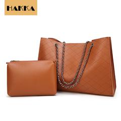 Women Leather Handbag 2019 Fashion Handbags Women Bags Big Capicity Tote with Metal Chain Brown 12inch*5inch*10inch