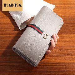 HAKKA Women Wallets Leather Wallet Multi-card Purse Zipper Phone Purse grey as picture