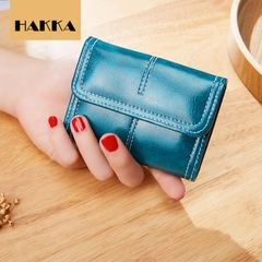 HAKKA  Leather Purse Fashion Wallet Card Organizer Coin or Cash Purse Navy as picture