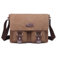 MeCooler Large Messenger Bag Vintage Shoulder Bag for Men School Bookbag Travel Sports Bag brown Large