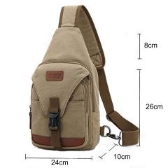 MeCooler Men Shoulder Bag Sports Chest Bag Outdoor Messenger Cross Body Bag for Travel Pack Canvas beige medium