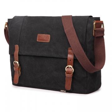 MeCooler Travel Shoulder Bag Men Messenger Bag for Outdoor Sports Cross Body Side Bag Canvas black large