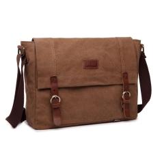 MeCooler Travel Shoulder Bag Men Messenger Bag for Outdoor Sports Cross Body Side Bag Canvas brown large