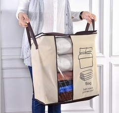 New Non-woven Portable Clothes Storage Bag Folding Closet For Pillow Quilt Blanket Bedding Flax Color