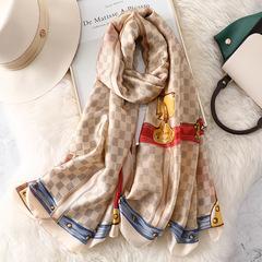 Mother gift New Silk Satin Scarf Simulation Silk Shawl Beach Towel Summer Sunscreen Shawl 1