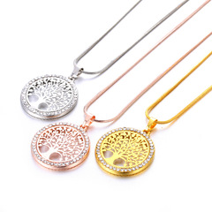 Mother gift Hot Tree of Life Crystal Round Small Pendant Necklace Elegant Women Jewelry Gifts silver color 2.4*2.4