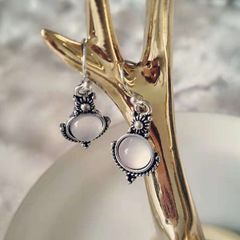 925 silver pure natural exquisite moon stone earring as the picture