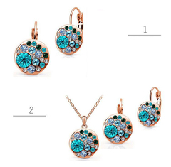 Mother gift Crystal Multi-stone Round Disc Pendant Necklace Earrings Jewelry Set blue 6*5*2
