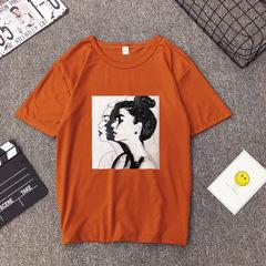 New Fashion Soft Slim Fit Cotton Spandex T shirt Women Spring Summer Girls Print Short Sleeve O Neck khaki S