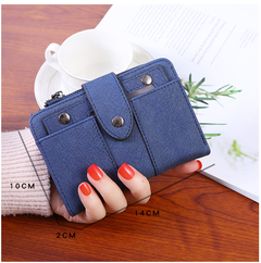 Women's stylish, frosted, flip-top, high-quality classic purse is compact, delicate and practical navy blue one size
