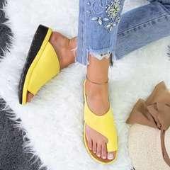New Women Sandals Slippers Dual-Use Platform Toe Sandals Feet Bone Thumb Valgus Correction yellow 37