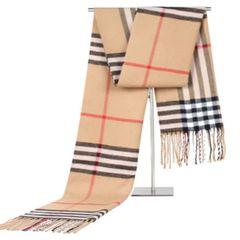 Winter Scarf Men Fashion Plaid Shawls Knit Cashmere Scarf with tassels Scarves khaki one size