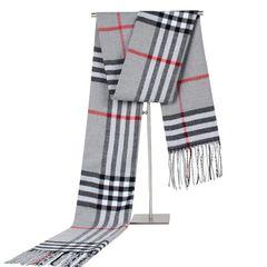 Winter Scarf Men Fashion Plaid Shawls Knit Cashmere Scarf with tassels Scarves grey one size