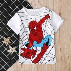 Kids Boys Summer Short Sleeve T Shirt Children Causal Catroon Print Tee Tops white 120 cotton