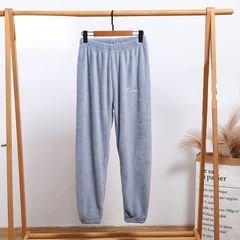 Pajamas women autumn and winter pants coral fleece loose large size home soft pajamas Blue FREE SIZE