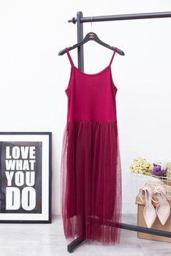 Summer new dress large size modal loose sling stitching mesh long dress bottoming maternity skirt FREE SIZE red wine