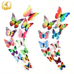 2019 New Double Layer 3D Butterfly Wall Stickers Art Decor 12pcs Party Wedding Birthday Living Room Colorful 6cm - 12cm
