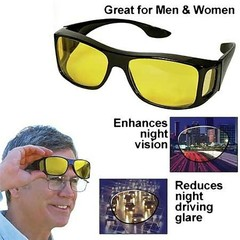 HD Car Driving Sunglasses Night Vision Wrap Arounds Yellow Lens Over Unisex Glasses yellow one size