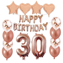 HQMY 27pcs Rose Gold Number Letter Balloons 21 30 40 50 60th Birthday Party Decoration 30 Rose Gold 40inch