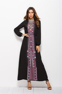 2019 New Women's Printed Waist-Length Sleeve Dress National Style Dress xxl black