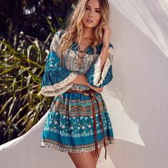 OBTENG Fashion Bohemian V-neck Print Beach Vacation Dress of Eur-Style Dress m blue
