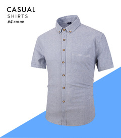OBTENG 2019New Style Men's Short Sleeve Shirt Pure Cotton Casual Striped Shirt white 4xl