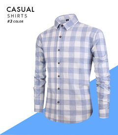 2019 New Style Men's Long Sleeve Shirts New All-Cotton Colored Textile Chequered Leisure gray xxl