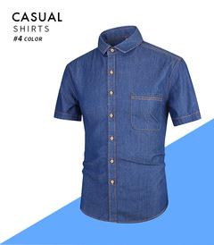 2019OBTENG Summer Simplicity Men's New Style Short-Sleeved Cotton Jeans Casual Shirt blue s