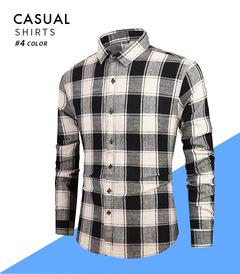 2019New Style Men's Flipped Collar Long Sleeve Fresh Black White Chequered Shirt black s