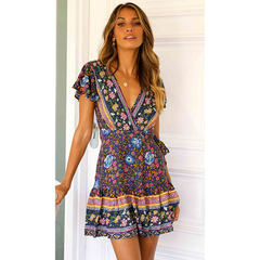 Bohemian Beach Holiday Wind Short Sleeve Deep V Large Pull-out Pleated Printed Dresses xl deep blue