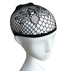 Nicekey Nylon Elastic Wig Cap with Black Mesh Net design Style B one size
