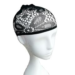 Nicekey Nylon Elastic Wig Cap with Black Mesh Net design Style C one size