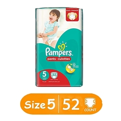 PAMPERS Diapers, Size 5, Jumbo Pack (Count 52) White Size 5