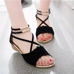 2019 new wedge-heeled women's muffin and low-heeled fish-tip shoes black 4