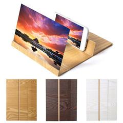 12 inch Desktop Folding Wood Mobile Phone Screen Magnifier 3D Video Amplifier Smartphone Holder wood one size 12 inch