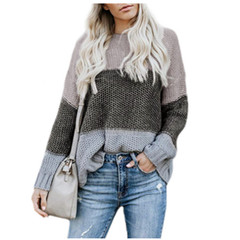 Autumn 2019 fashion stripe matching color pullover sweater, hot style sweater gray s