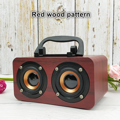 Portable Audio Retro Subwoofer Simple Wooden Mini Wireless Bluetooth Speaker red 150*90*77mm