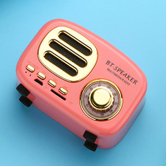 BT-02 Retro Mini Bluetooth Speaker Wireless Smart Radio Subwoofer plug-in Card Mobile Phone Stereo pink 93*52*62mm