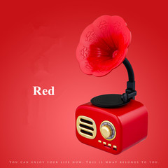 FT05 Retro Phonograph Outdoor Mobile Phone Bluetooth Radio Player Gift Speaker red l*w*h=95*60*70