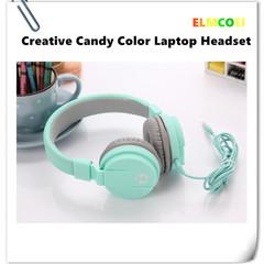 ELMCOEI Creative Headset Candy Color Laptop Earphones Headphone Desktop Computer Headset for Game
